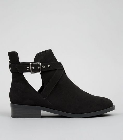 Wide Fit Black Suedette Cut Out Boots | New Look