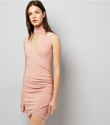 Cameo Rose Pink Wrap Front Choker Neck Dress | New Look