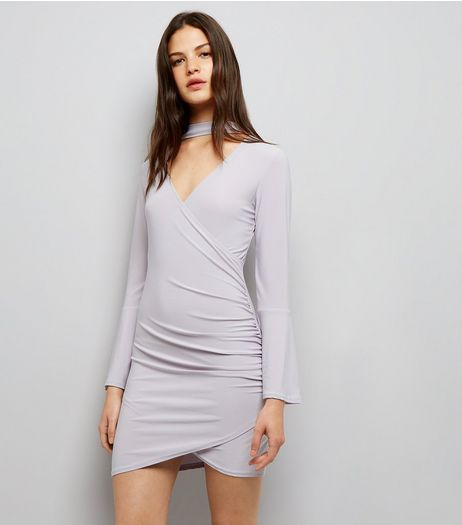 Cameo Rose Grey Flared Sleeve Choker Neck Dress | New Look