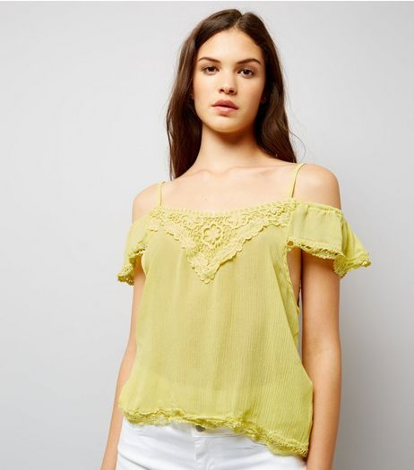 Cameo Rose Yellow Cold Shoulder Top | New Look
