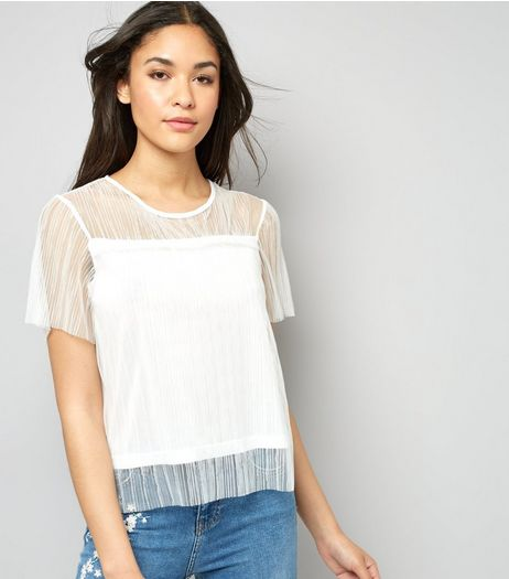 Cameo Rose White Mesh Top | New Look
