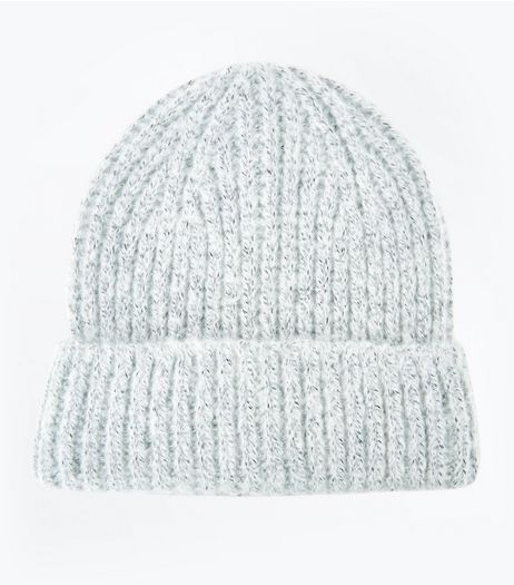 Grey Brushed Knit Beanie Hat | New Look