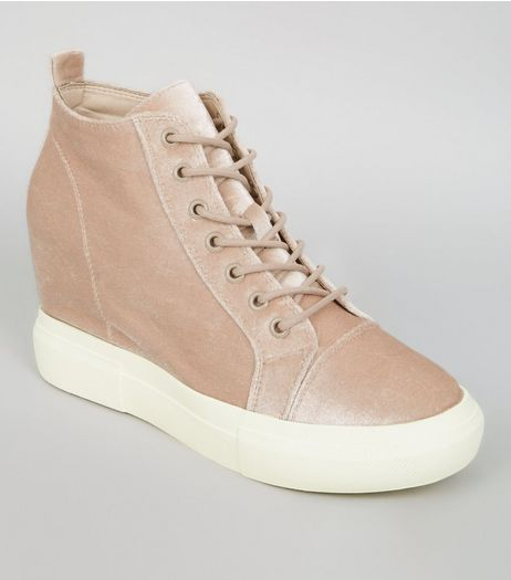 Nude Pink Velvet Wedge Trainers  | New Look