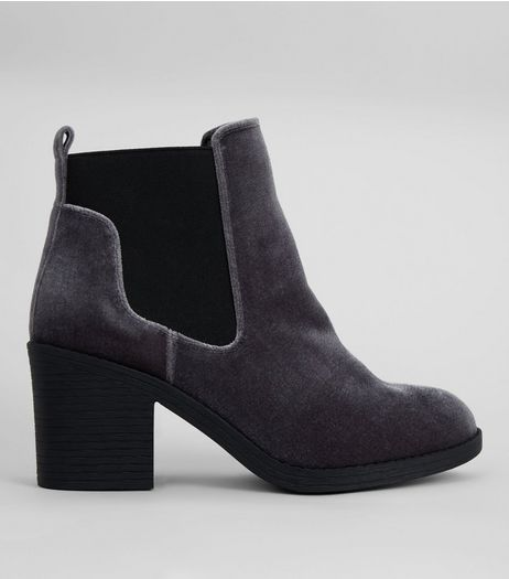 Wide Fit Grey Velvet Ankle Boots | New Look