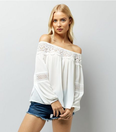 White Crochet Trim Bardot Top | New Look