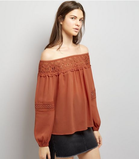 Dark Orange Crochet Trim Bardot Top | New Look