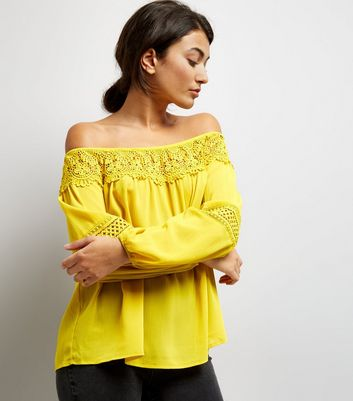 Yellow Crochet Trim Bardot Top