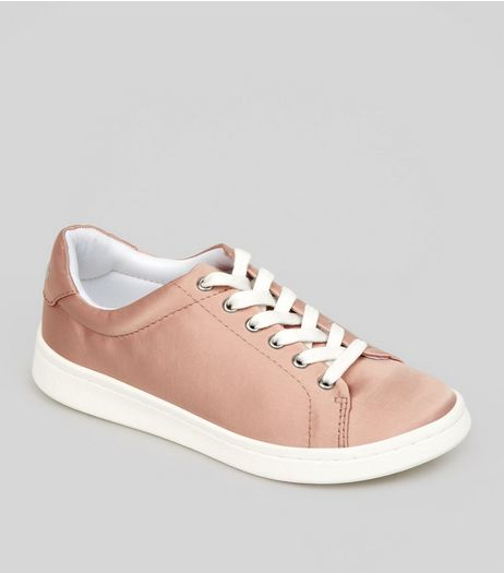 Teens Pink Satin Lace Up Trainers | New Look