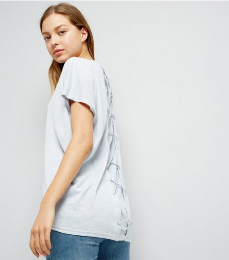 Pale Grey Lattice Back T-Shirt  | New Look