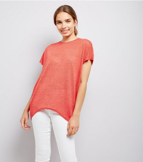 Red Lattice Back T-Shirt  | New Look