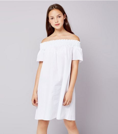 Teens White Bardot Neck Dress  | New Look
