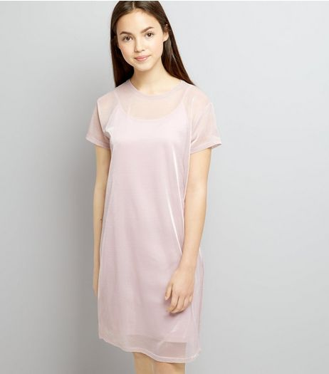 Teens Pink Mermaid Mesh Dress | New Look