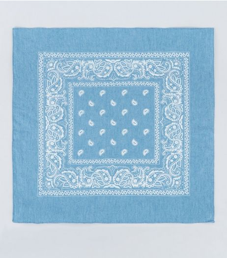 Blue Denim Paisley Print Bandana | New Look