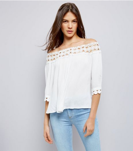 Cameo Rose White Crochet Bardot Top | New Look