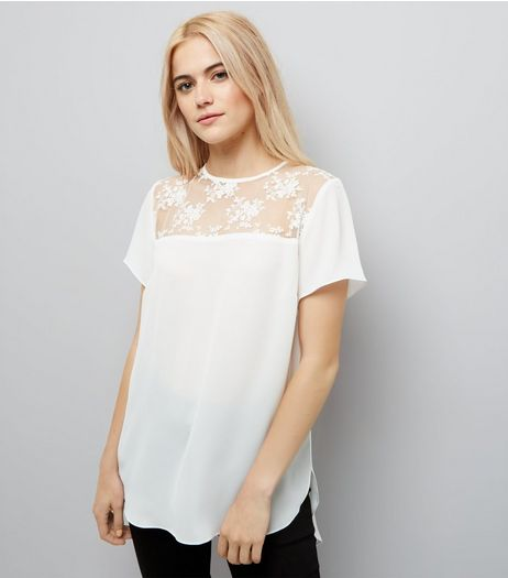 White Mesh Floral Embroidered Panel T-Shirt  | New Look
