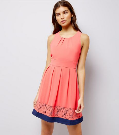 Blue Vanilla Coral Contrast Lace Trim Bow Back Dress | New Look