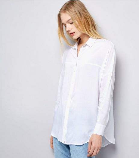 White Drop Sleeve Oversized Shirt | New Look