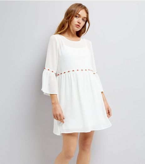 Blue Vanilla White Rose Embroidered Dress  | New Look