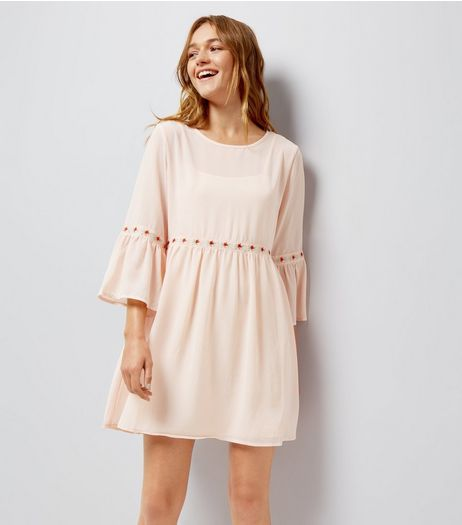 Blue Vanilla Shell Pink Rose Embroidered Dress  | New Look