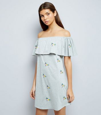 Grey Marl Floral Embroidered Bardot Neck Dress