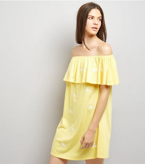Yellow Floral Embroidered Bardot Neck Dress | New Look
