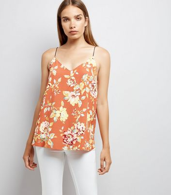 Light Brown Floral V Neck Cami