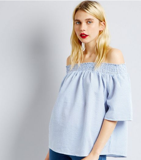 QED Blue Stripe Bardot Neck Top  | New Look
