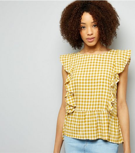 QED Orange Gingham Frill Trim Top  | New Look