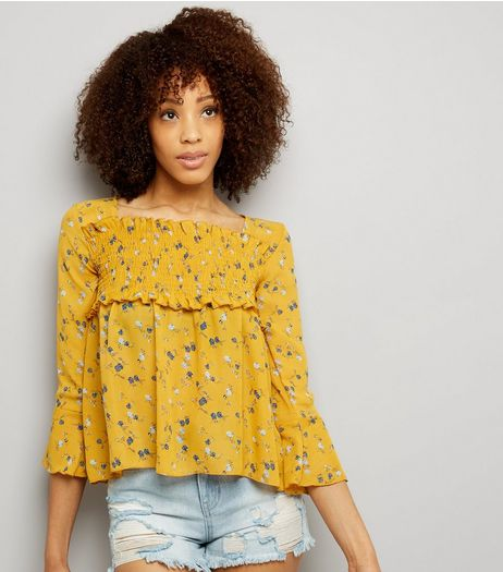 QED Orange Floral Print Shirred Yoke Top | New Look