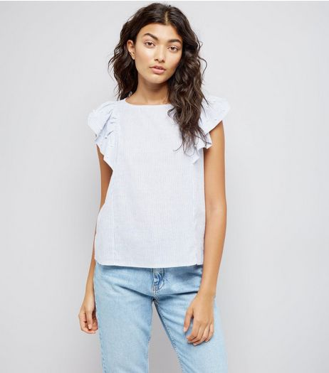 QED Blue Stripe Frill Trim Top | New Look