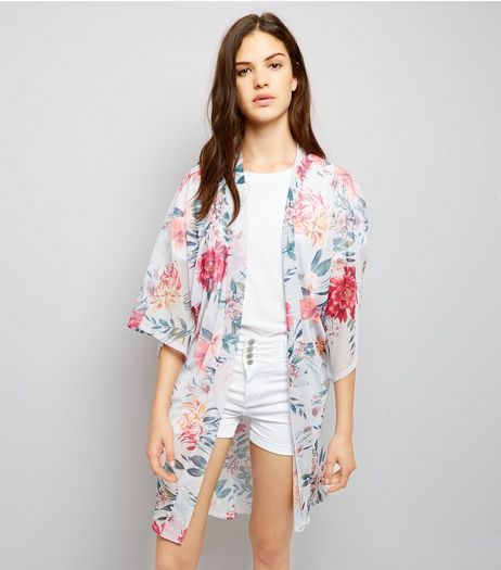 QED Light Grey Floral Print 3/4 Sleeve Kimono  | New Look