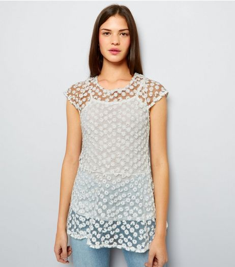 Blue Vanilla Cream Daisy Lace Peplum Hem Top | New Look