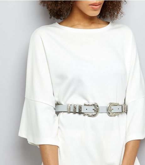Grey Double Western Buckle Waist Belt | New Look