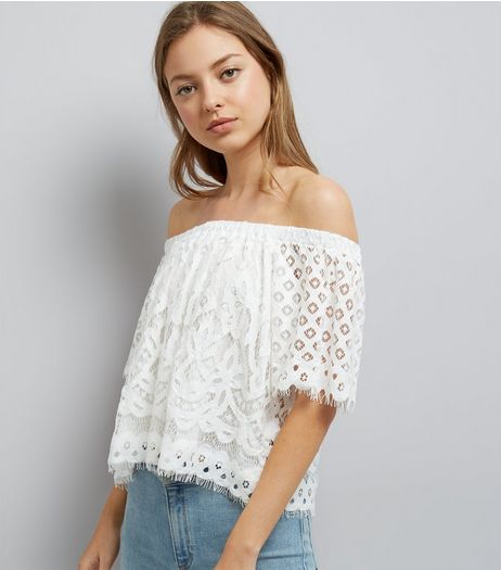 White Lace Bardot Neck Top  | New Look