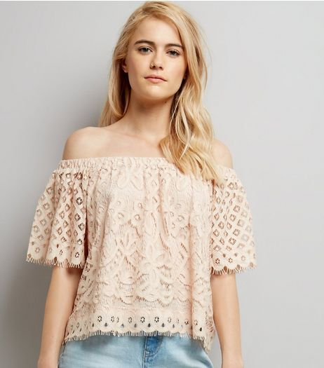 Shell Pink Lace Bardot Neck Top | New Look
