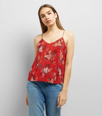 Red Floral Print Pleated Cami Top