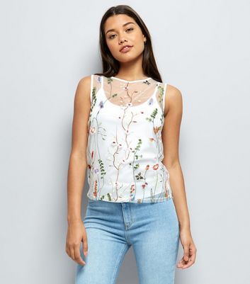 White Floral Embroidered Top
