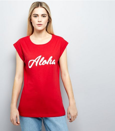 Red Aloha Print T-Shirt | New Look