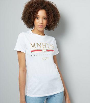 White Manhattan Metallic Print T-Shirt