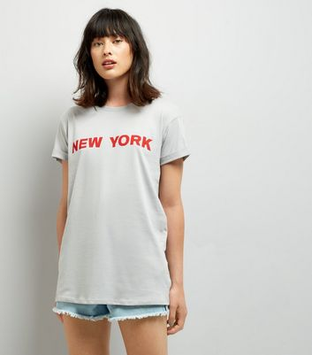 Grey New York Slogan T-Shirt