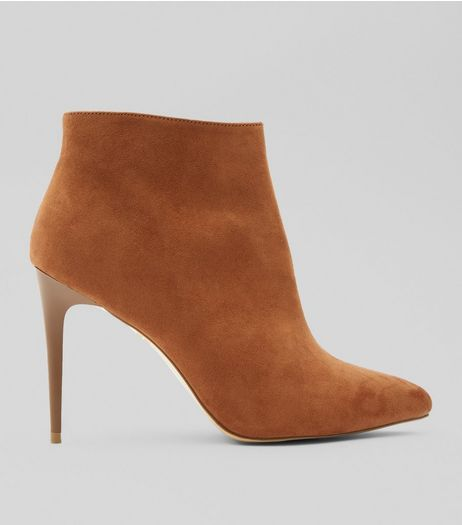 Tan Suedette Stiletto Heel Pointed Boots | New Look
