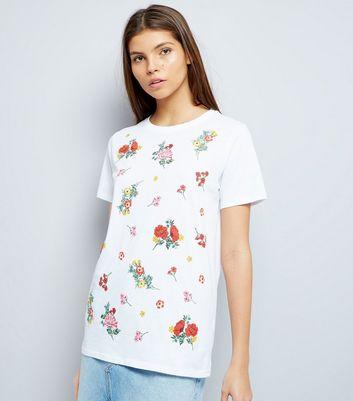 White Floral Puff Print T-Shirt