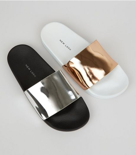 Gold 2 Pack Metallic Pool Sliders | New Look