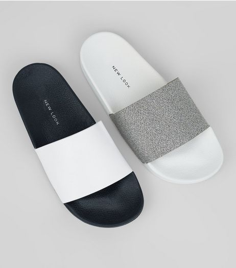2 Pack White Sliders | New Look