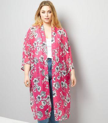 Curves Pink Floral Print Chiffon Kimono