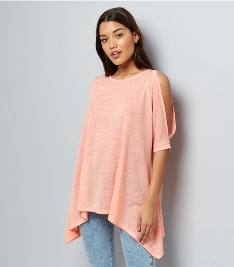 Coral Hanky Hem Cold Shoulder Top  | New Look