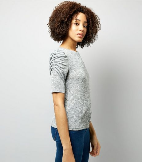 Pale Grey Ruched Sleeve Top  | New Look