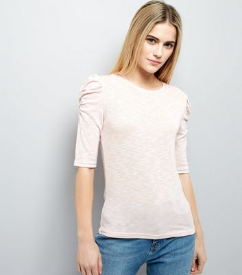 Shell Pink Frill Trim Top