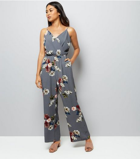 Petite Grey Floral Print Wrap Front Jumpsuit | New Look