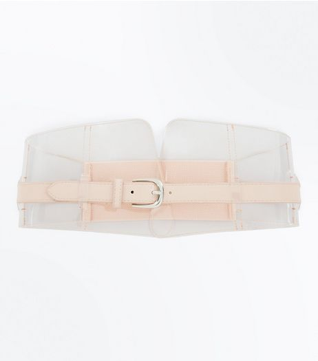 Clear Nude Pink Buckle Front Corset Belt | New Look